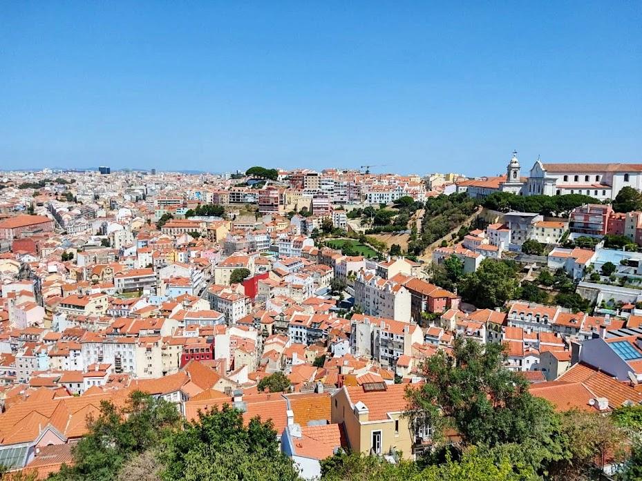 alt vistas desde el Castillo San Jorge en Alfama